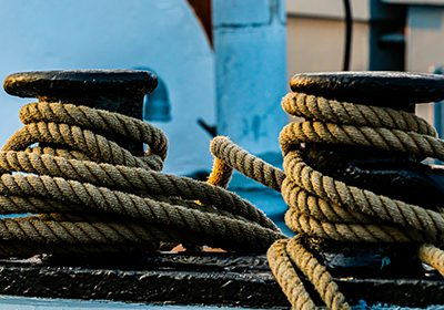 shipping rope on cargo ship dock